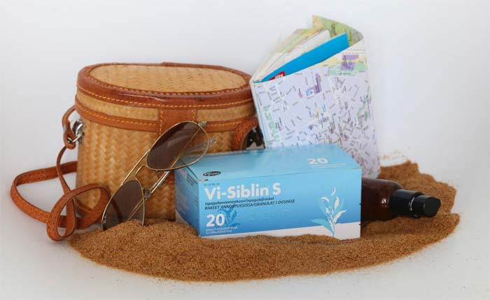 Vi-Siblin S 20 annospussin pakkaus riittää kymmenen päivän reissulle, jos annoksia otetaan kaksi päivässä.